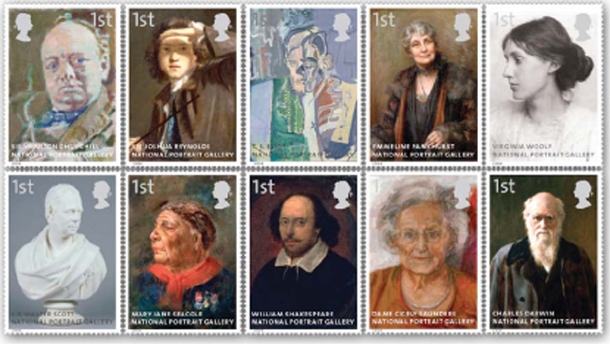 GB National Portrait Gallery stamp set.