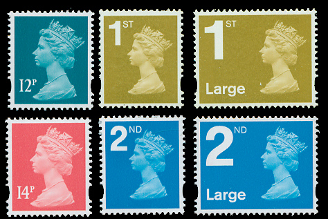 1st and 2nd class standard letter and large letter stamps introduced by Royal Mail on 1
