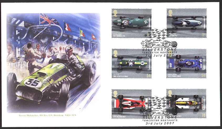 Order Stamps Online >> Grand Prix Motor Racing - Great Britain stamps 3 July 2007 ...