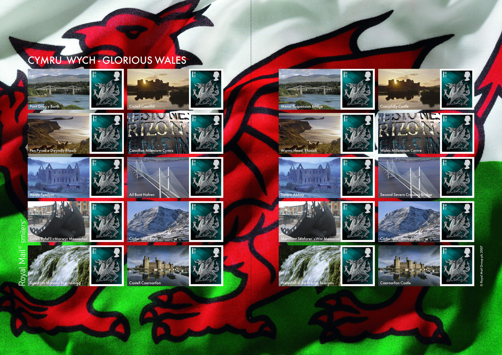 Wales Smilers Sheet Great Britain 1 March 2007 From Norvic