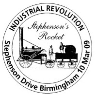 Postmark showing George Stephenson's 'Rocket'.