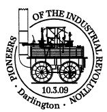 Postmark showing George Stephenson's 'Locomotion'.