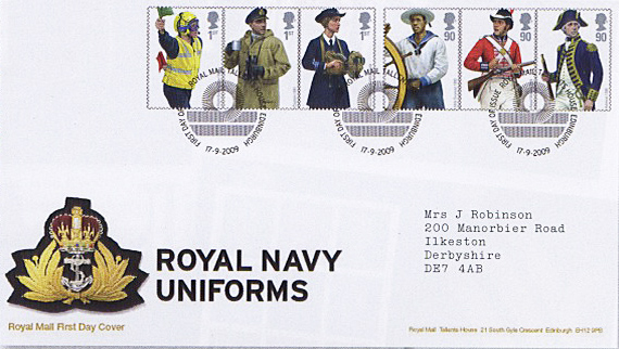 First Day Cover for Royal Navy Uniforms issue.