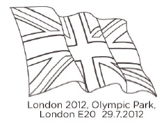Union Flag Postmark for Olympic Gold Medal Stamps.