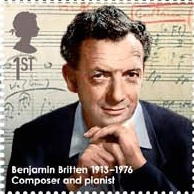 Stamp showing Benjamin Britten.