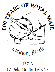 Postmark showing a hand  writing a letter.