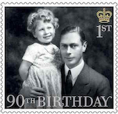 Stamp showing the young Queen Elizabeth with her father.