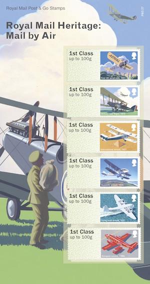 英国9月13日发行皇家邮政遗产:空邮邮件电子邮票