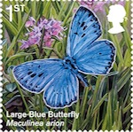 Large Blue butterfly stamp.