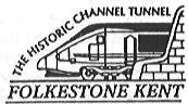 Postmark showing locomotive emerging from the Channel Tunnel.