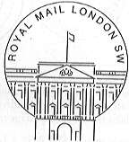 permanent Royal Mail London SW postmark showing the Buckingham Palace.