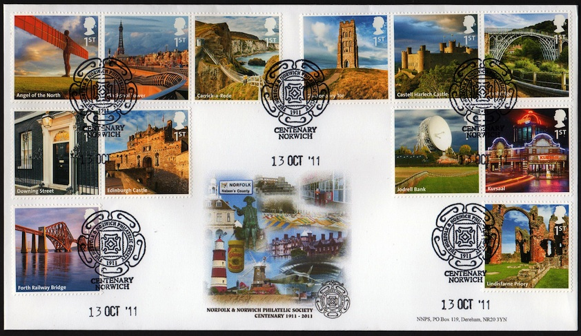 Norfolk and Norwich PS Centenary FDC for A-Z of the UK set.