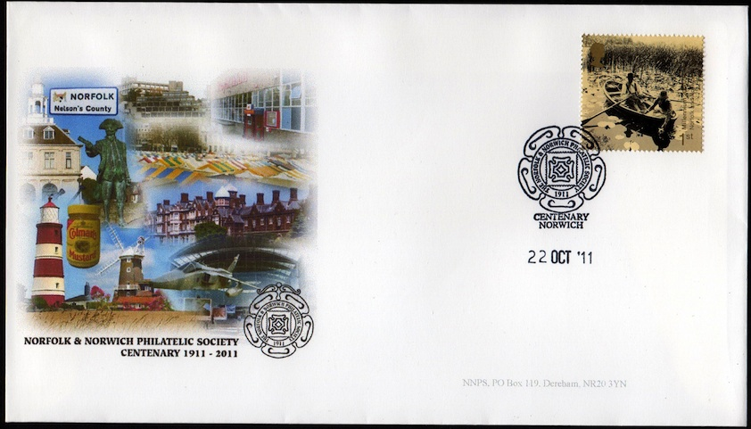 NNPS Centenary Commemorative Cover - Millennium Norfolk Broads stamp.