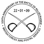 Postmark showing crossed swords.